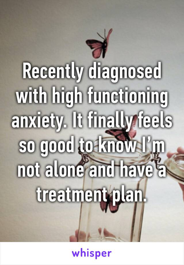 Recently diagnosed with high functioning anxiety. It finally feels so good to know I'm not alone and have a treatment plan.
