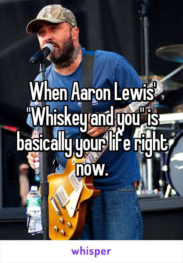 "When Aaron Lewis' ""Whiskey and you"" is basically your life right now."