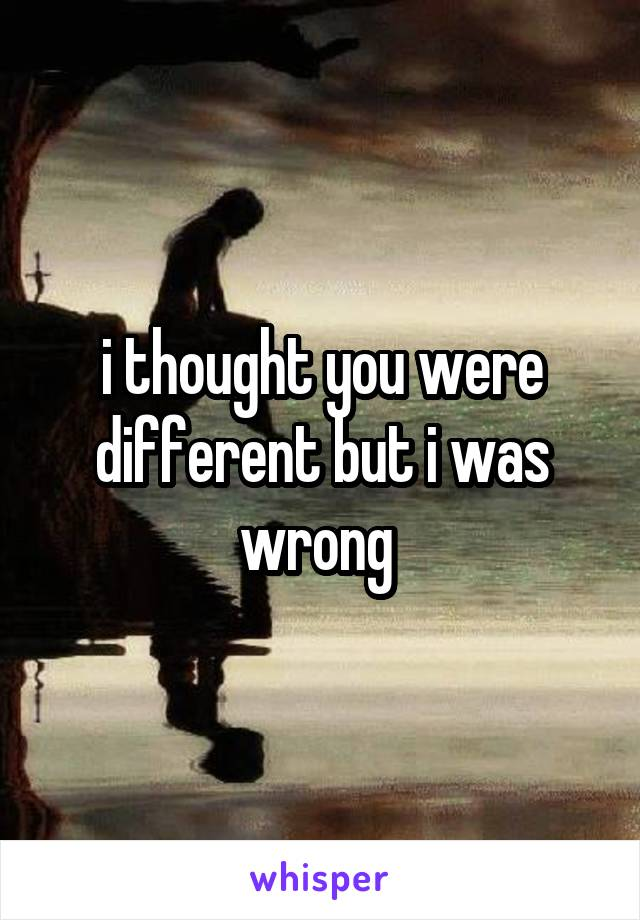 i thought you were different but i was wrong