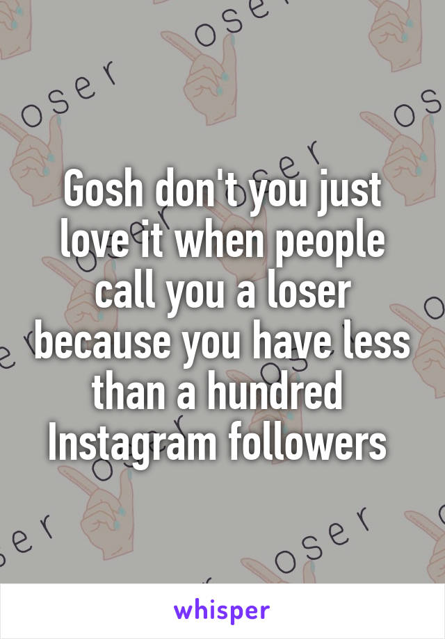 Gosh don't you just love it when people call you a loser because you have less than a hundred  Instagram followers