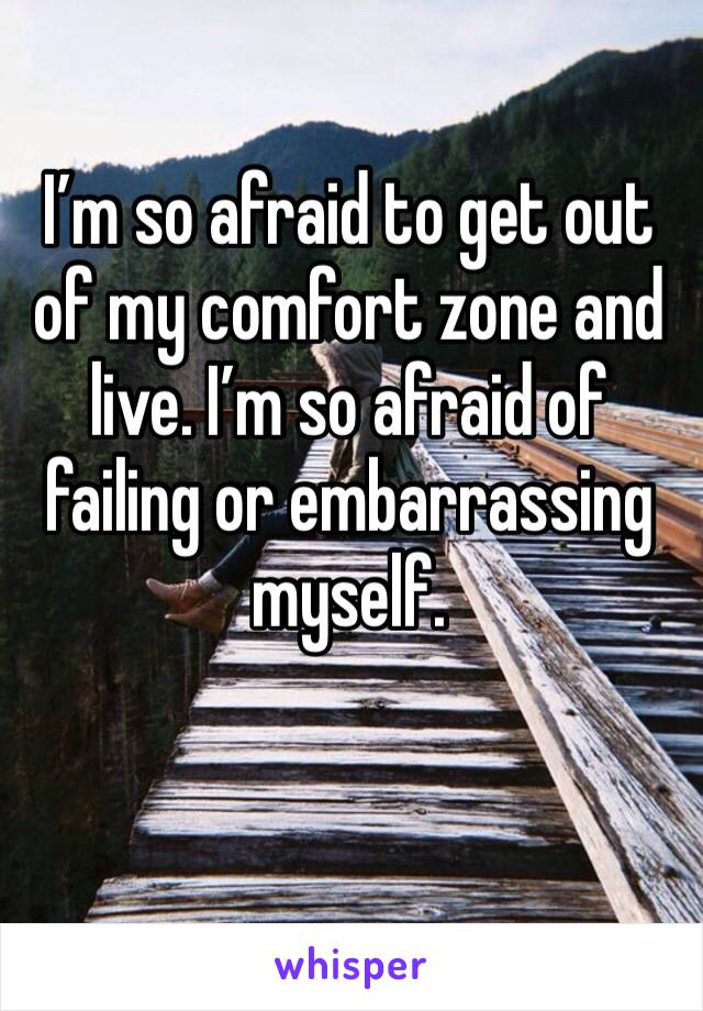 I'm so afraid to get out of my comfort zone and live. I'm so afraid of failing or embarrassing myself.