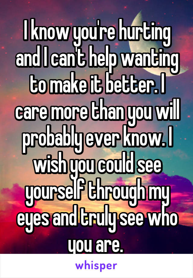 I know you're hurting and I can't help wanting to make it better. I care more than you will probably ever know. I wish you could see yourself through my eyes and truly see who you are.