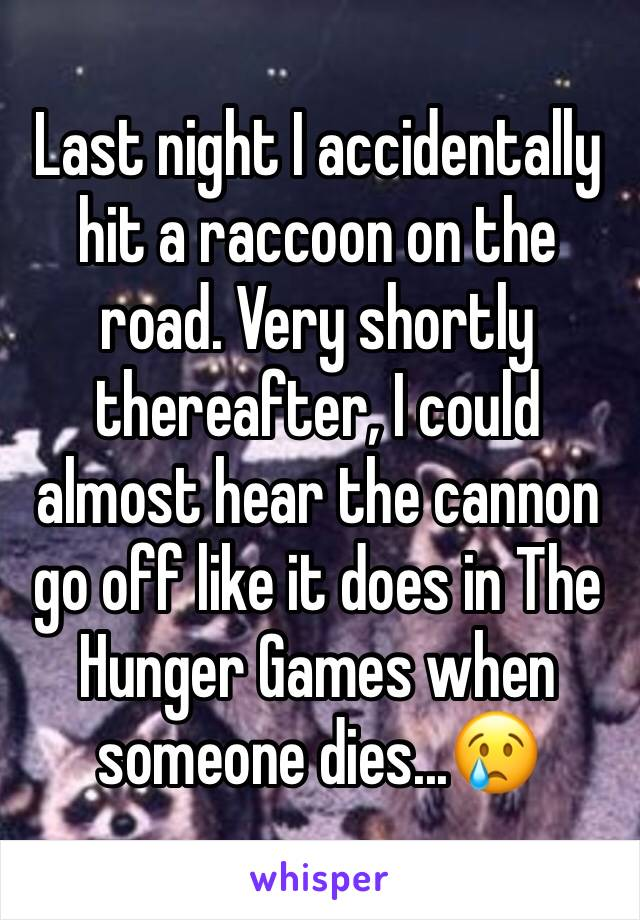Last night I accidentally hit a raccoon on the road. Very shortly thereafter, I could almost hear the cannon go off like it does in The Hunger Games when someone dies...😢