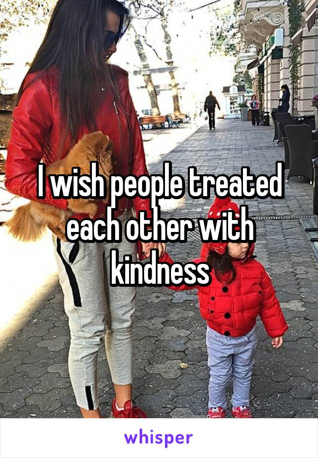I wish people treated each other with kindness