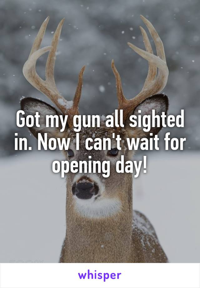 Got my gun all sighted in. Now I can't wait for opening day!