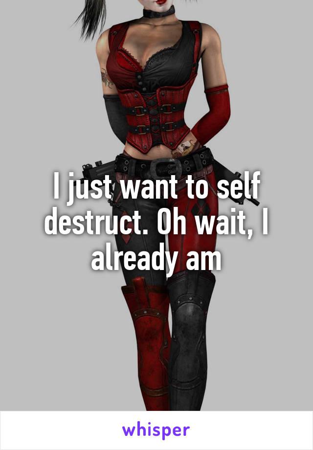 I just want to self destruct. Oh wait, I already am