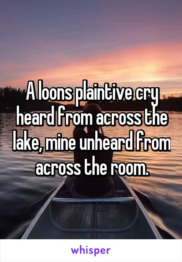A loons plaintive cry heard from across the lake, mine unheard from across the room.