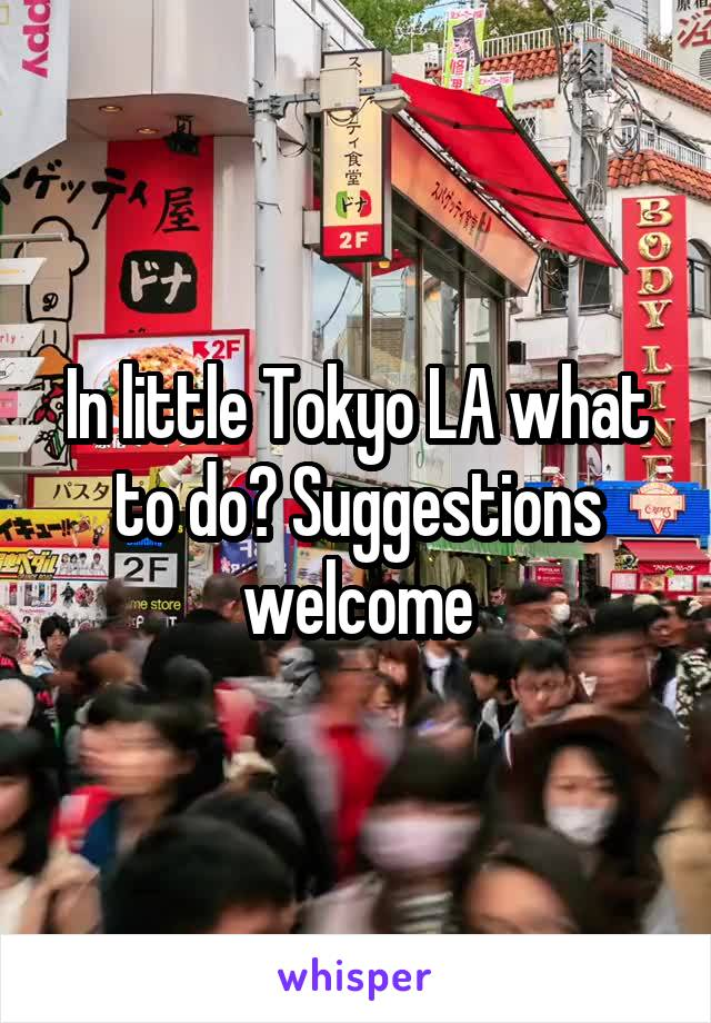 In little Tokyo LA what to do? Suggestions welcome