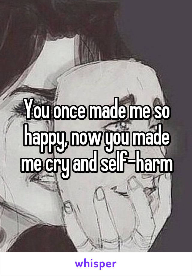 You once made me so happy, now you made me cry and self-harm