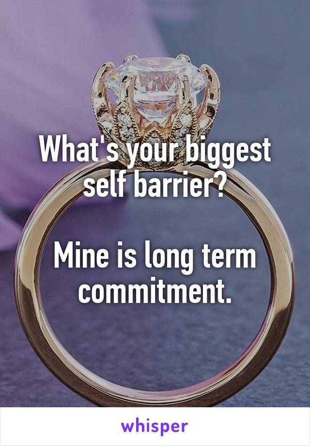 What's your biggest self barrier?  Mine is long term commitment.