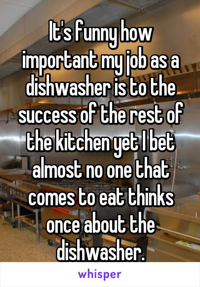 It's funny how important my job as a dishwasher is to the success of the rest of the kitchen yet I bet almost no one that comes to eat thinks once about the dishwasher.