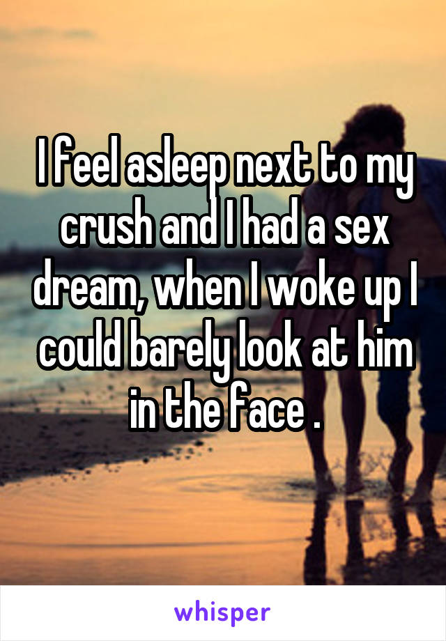 I feel asleep next to my crush and I had a sex dream, when I woke up I could barely look at him in the face .