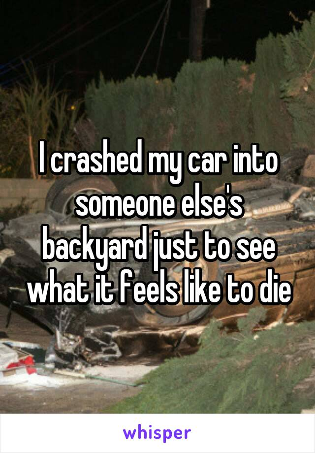 I crashed my car into someone else's backyard just to see what it feels like to die