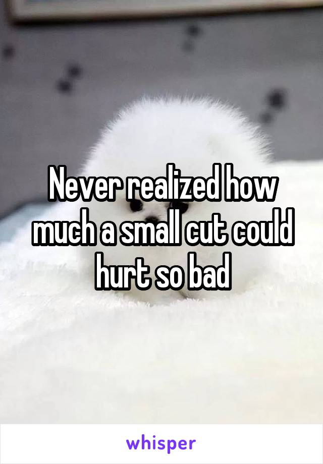 Never realized how much a small cut could hurt so bad