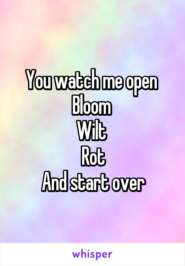 You watch me open  Bloom  Wilt  Rot And start over