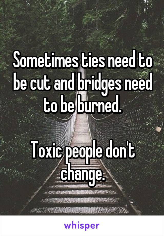 Sometimes ties need to be cut and bridges need to be burned.  Toxic people don't change.