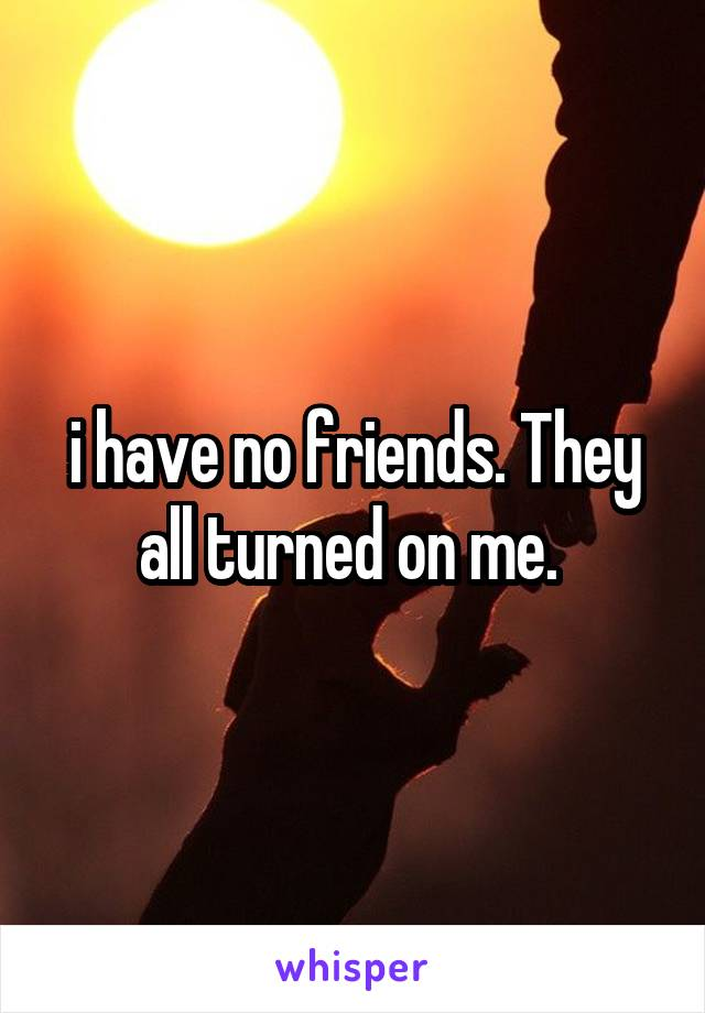 i have no friends. They all turned on me.