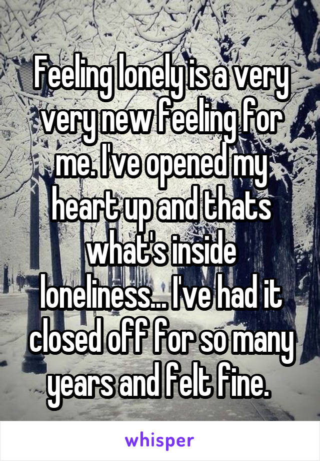 Feeling lonely is a very very new feeling for me. I've opened my heart up and thats what's inside loneliness... I've had it closed off for so many years and felt fine.