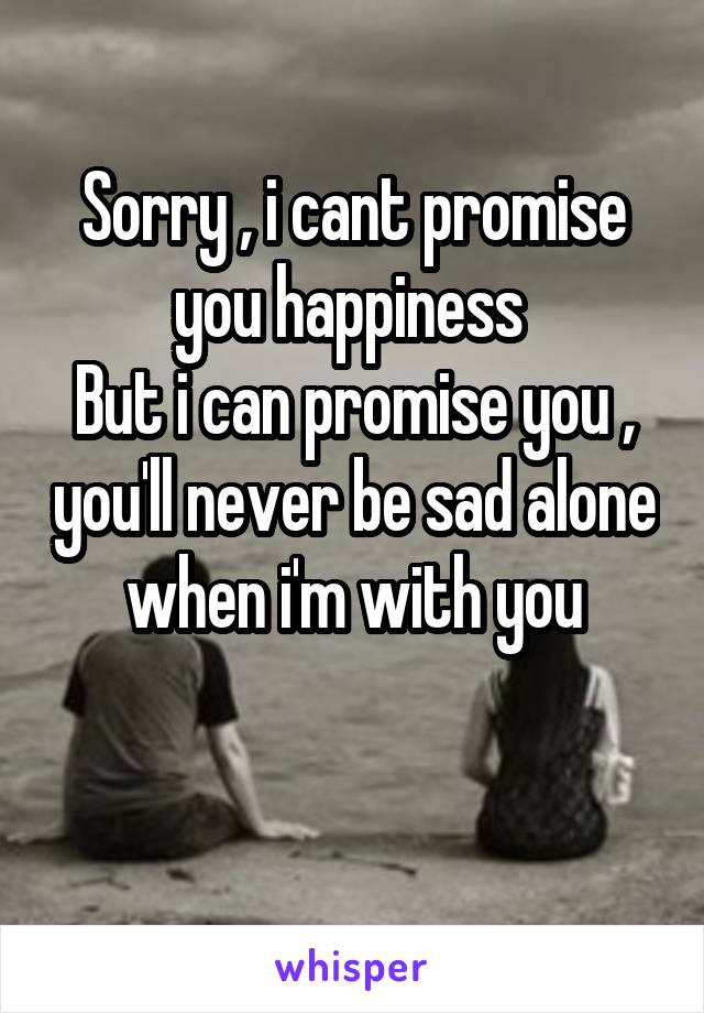 Sorry , i cant promise you happiness  But i can promise you , you'll never be sad alone when i'm with you