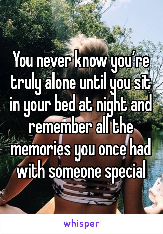 You never know you're truly alone until you sit in your bed at night and remember all the memories you once had with someone special