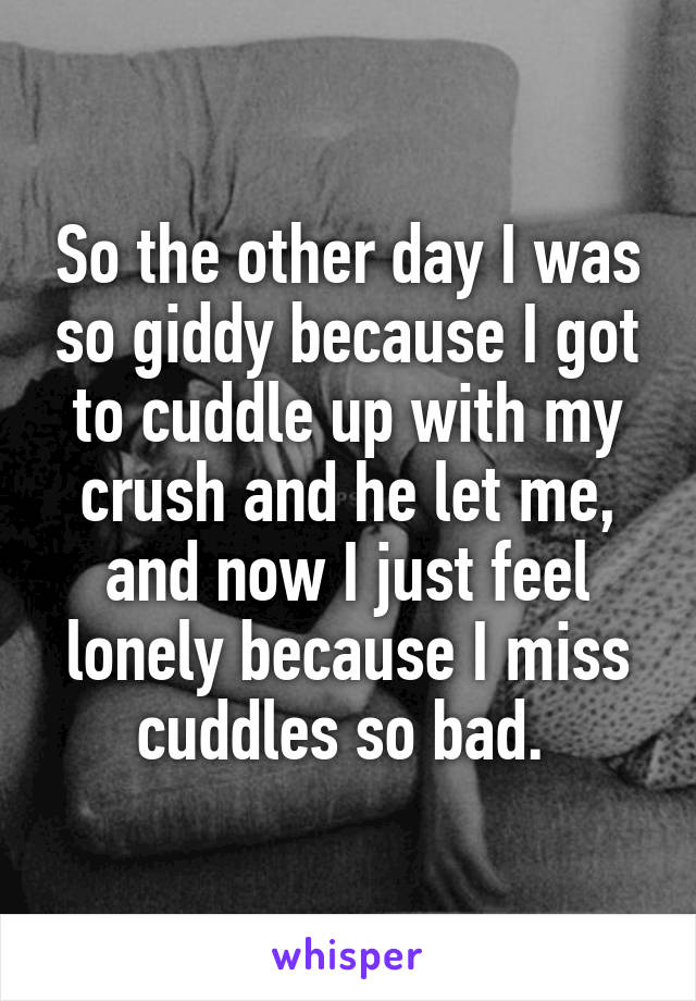 So the other day I was so giddy because I got to cuddle up with my crush and he let me, and now I just feel lonely because I miss cuddles so bad.
