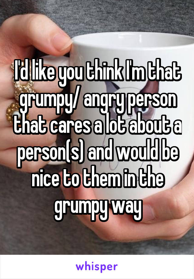 I'd like you think I'm that grumpy/ angry person that cares a lot about a person(s) and would be nice to them in the grumpy way