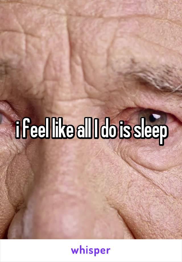 i feel like all I do is sleep