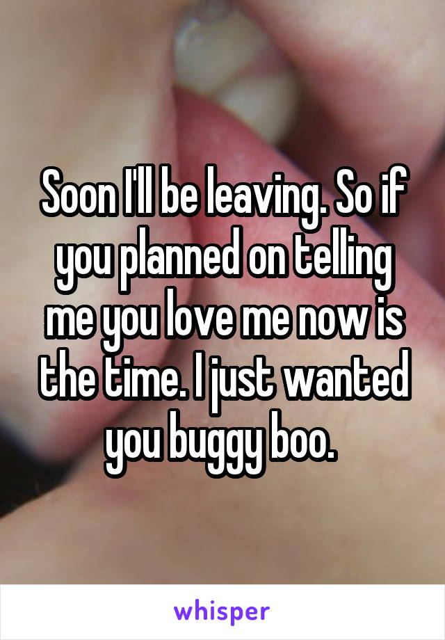 Soon I'll be leaving. So if you planned on telling me you love me now is the time. I just wanted you buggy boo.