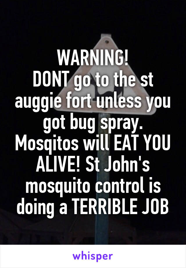 WARNING! DONT go to the st auggie fort unless you got bug spray. Mosqitos will EAT YOU ALIVE! St John's mosquito control is doing a TERRIBLE JOB