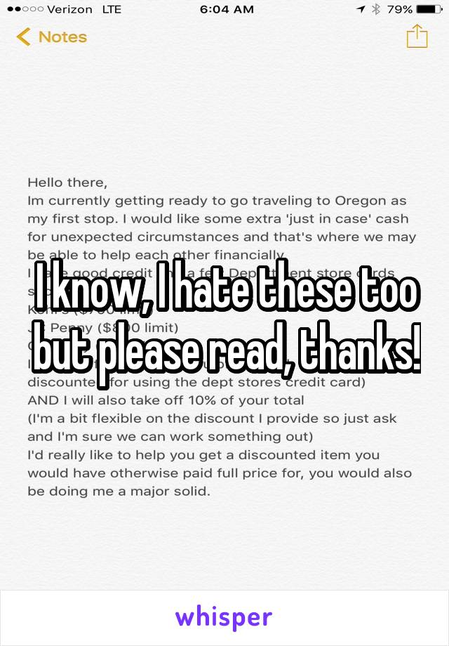 I know, I hate these too but please read, thanks!