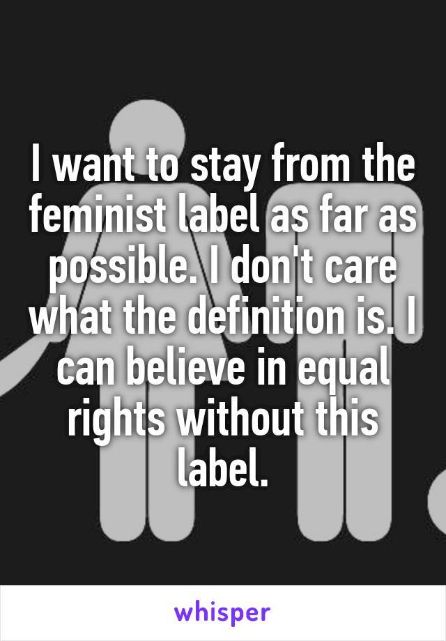 I want to stay from the feminist label as far as possible. I don't care what the definition is. I can believe in equal rights without this label.
