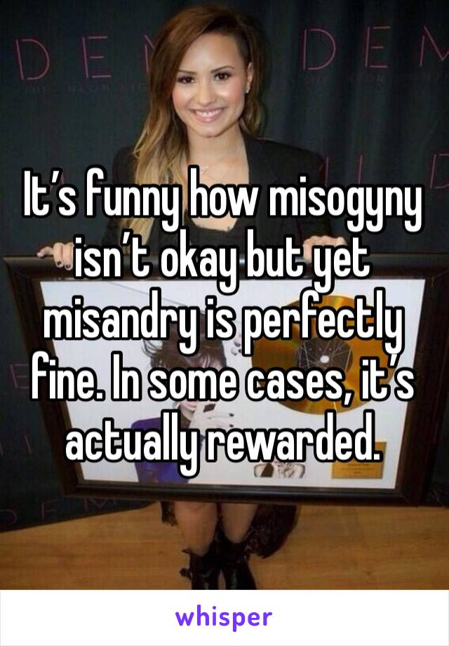 It's funny how misogyny isn't okay but yet misandry is perfectly fine. In some cases, it's actually rewarded.