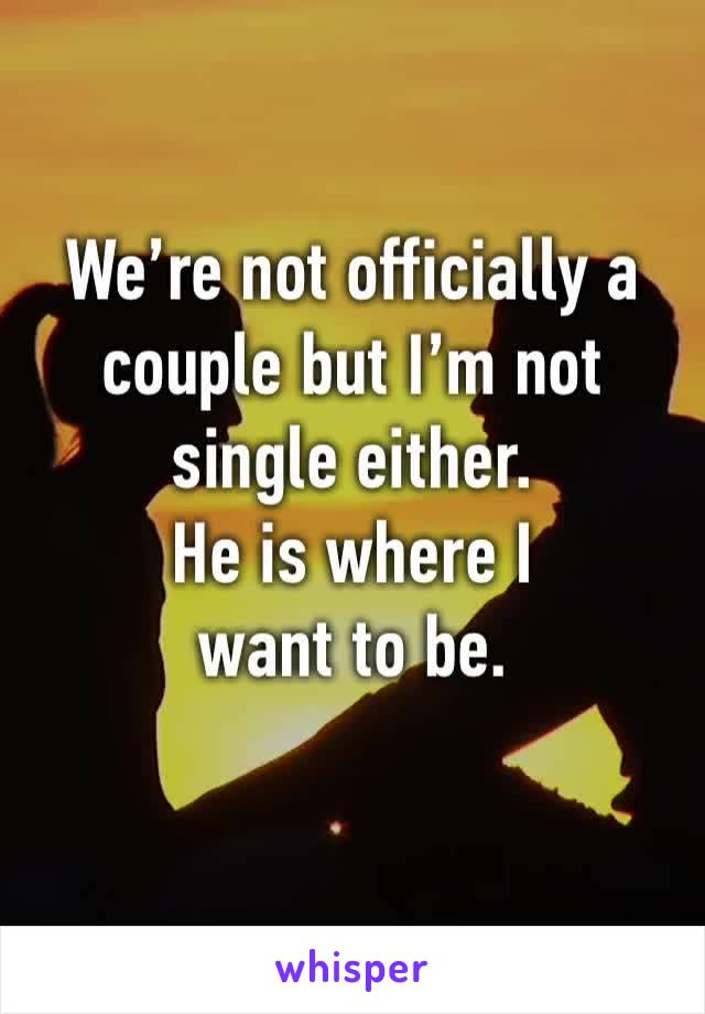 We're not officially a couple but I'm not single either.  He is where I want to be.