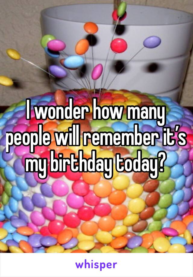 I wonder how many people will remember it's my birthday today?
