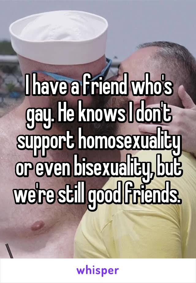 I have a friend who's gay. He knows I don't support homosexuality or even bisexuality, but we're still good friends.