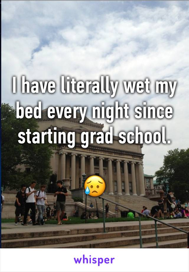 I have literally wet my bed every night since starting grad school.  😥