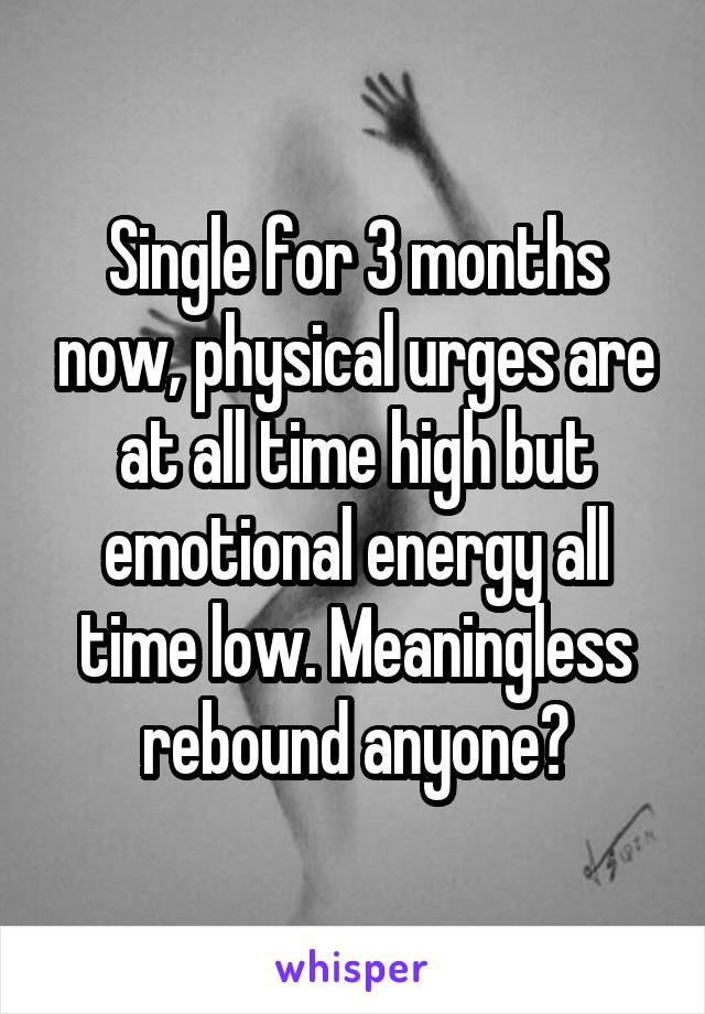 Single for 3 months now, physical urges are at all time high but emotional energy all time low. Meaningless rebound anyone?