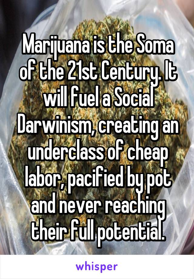 Marijuana is the Soma of the 21st Century. It will fuel a Social Darwinism, creating an underclass of cheap labor, pacified by pot and never reaching their full potential.