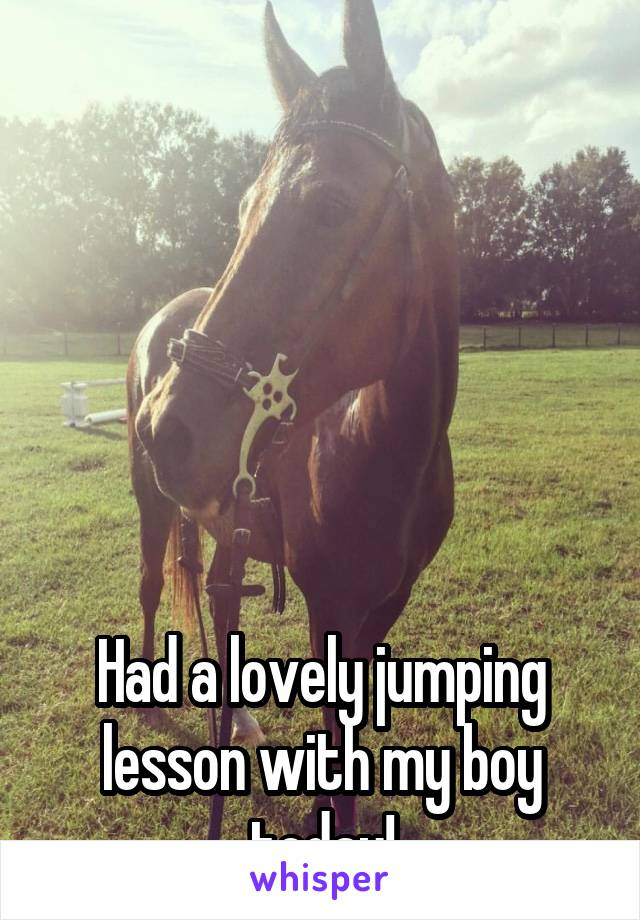 Had a lovely jumping lesson with my boy today!