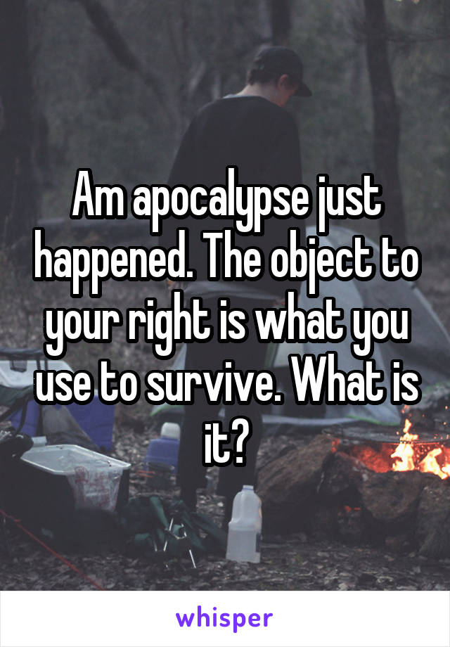 Am apocalypse just happened. The object to your right is what you use to survive. What is it?
