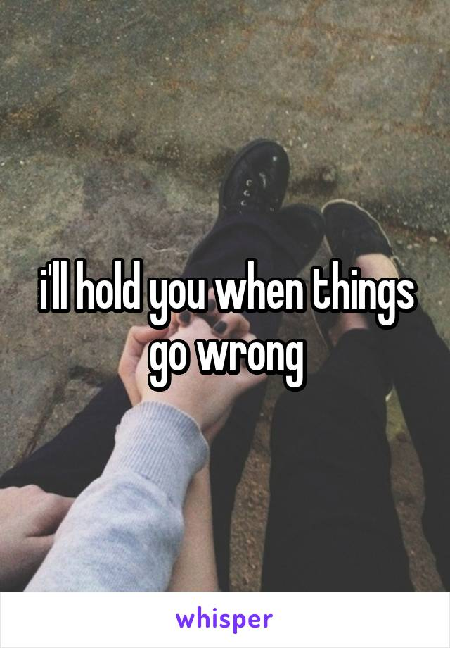 i'll hold you when things go wrong