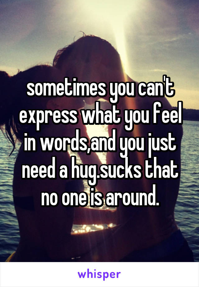 sometimes you can't express what you feel in words,and you just need a hug.sucks that no one is around.