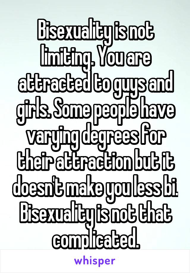 Bisexuality is not limiting. You are attracted to guys and girls. Some people have varying degrees for their attraction but it doesn't make you less bi. Bisexuality is not that complicated.