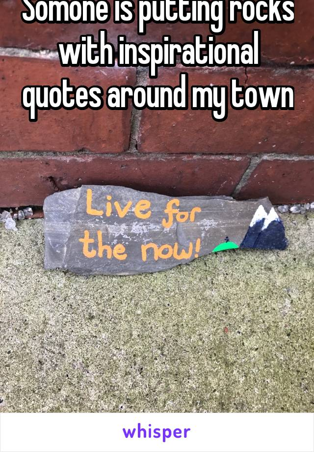 Somone is putting rocks with inspirational quotes around my town