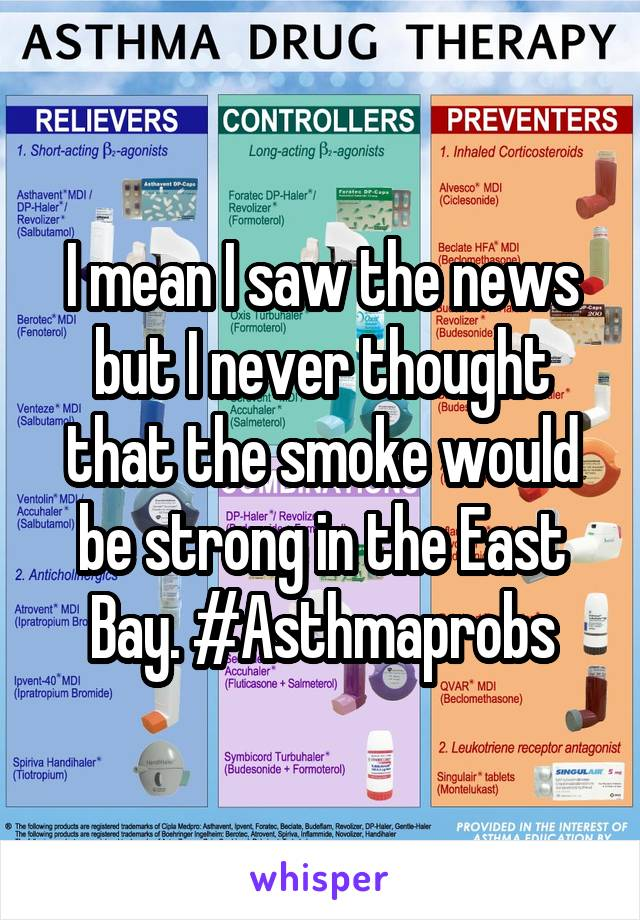 I mean I saw the news but I never thought that the smoke would be strong in the East Bay. #Asthmaprobs