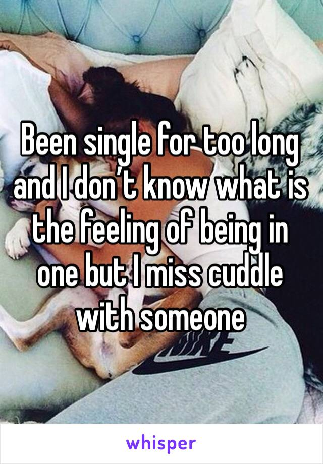 Been single for too long and I don't know what is the feeling of being in one but I miss cuddle with someone