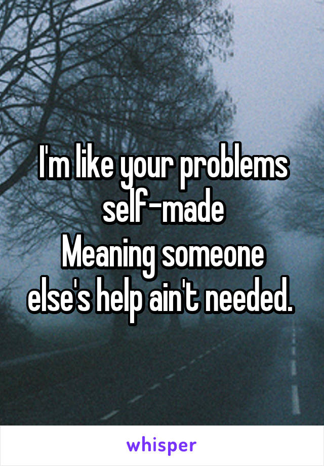 I'm like your problems self-made Meaning someone else's help ain't needed.