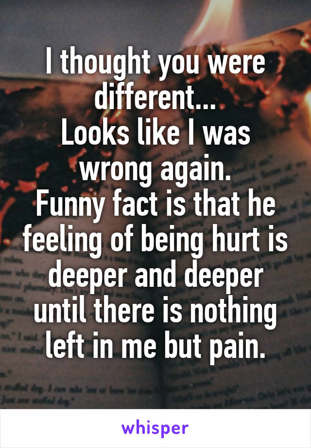 I thought you were different... Looks like I was wrong again. Funny fact is that he feeling of being hurt is deeper and deeper until there is nothing left in me but pain.