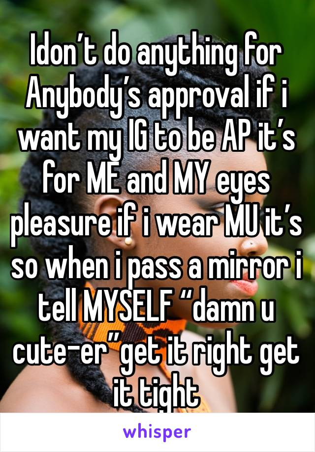 """Idon't do anything for Anybody's approval if i want my IG to be AP it's for ME and MY eyes pleasure if i wear MU it's so when i pass a mirror i tell MYSELF """"damn u cute-er""""get it right get it tight"""