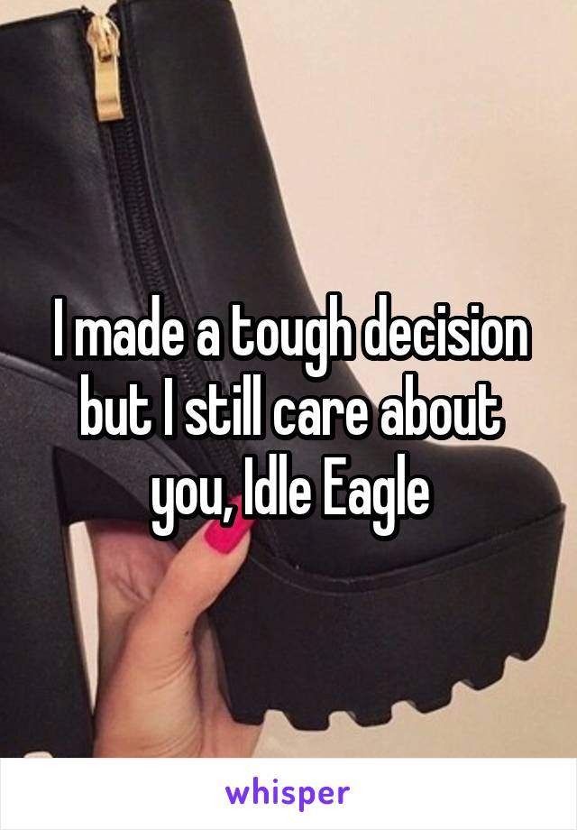 I made a tough decision but I still care about you, Idle Eagle